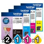 5 Pack Genuine Brother LC-239XL/LC-235XL High Yield Ink Combo [2BK,1C,1M,1Y]