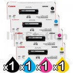 4 Pack Genuine Canon CART-416 Toner Cartridges [1BK,1C,1M,1Y]