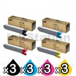 3 sets of 4 Pack Genuine Samsung CLX-6840ND, CLX-6850ND [CLT659S] Toner Combo [3BK,3C,3M,3Y]