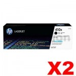 2 x HP 410X (CF410X) Genuine Black Toner Cartridge - 6,500 pages