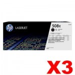 3 x HP 508X (CF360X) Genuine Black Toner Cartridge - 12,500 pages