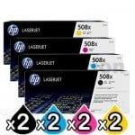 2 sets of 4 Pack HP 508X (CF360X-CF363X) Genuine Toner Cartridges [2BK,2C,2M,2Y]