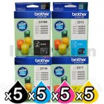 20-Pack Brother LC-231 Genuine Ink Combo [5BK,5C,5M,5Y]