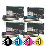 4 Pack Lexmark Genuine C736 / X736 / X738 High Yield Toner Combo - Black 12,000 pages & CMY 10,000 pages