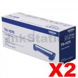 2 x Brother TN-1070 Genuine Toner - 1,000 pages