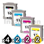 10 Pack HP 10 + 11 Compatible Inkjet Cartridges C4844AA+C4836AA-C4838AA [4BK,2C,2M,2Y]