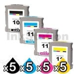 5 sets of 4 Pack HP 10 + 11 Compatible Inkjet Cartridges C4844AA+C4836AA-C4838AA [5BK,5C,5M,5Y]