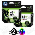 3 Pack HP 63XL Genuine High Yield Inkjet Cartridges F6U64AA + F6U63AA [2BK,1CL]