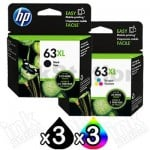 6 Pack HP 63XL Genuine High Yield Inkjet Cartridges F6U64AA + F6U63AA [3BK,3CL]