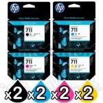 20 Pack HP 711 Genuine Inkjet Cartridges CZ133A - CZ136A [2BK,6C,6M,6Y]