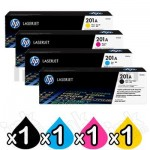 4 Pack HP CF400A-CF403A (201A) Genuine Toner Cartridges [1BK,1C,1M,1Y]