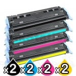 2 sets of 4 Pack HP Q6000A-Q6003A (124A) Compatible Toner Cartridges [2BK,2C,2M,2Y]