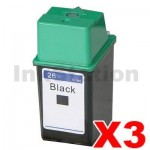 3 x HP 26 Compatible Black Inkjet Cartridge 51626AA