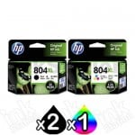 3 Pack HP 804XL Genuine High Yield Inkjet Cartridges T6N12AA + T6N11AA [2BK,1CL]
