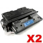 2 x HP C8061X (61X) Compatible Black Toner Cartridge - 10,000 Pages