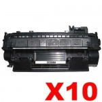 10 x HP CE505A (05A) Compatible Black Toner Cartridge - 2,300 Pages
