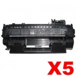 5 x HP CE505A (05A) Compatible Black Toner Cartridge - 2,300 Pages