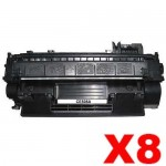 8 x HP CE505A (05A) Compatible Black Toner Cartridge - 2,300 Pages