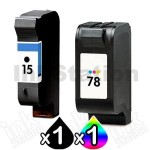 2 Pack HP 15 + 78 Colour Compatible Inkjet Cartridges C6615DA + C6578DA [1BK,1CL]