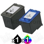 2 Pack HP 21XL + 22XL Compatible Inkjet Cartridges C9351CA + C9352CA [1BK,1CL]