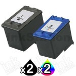 4 Pack HP 21XL + 22XL Compatible Inkjet Cartridges C9351CA + C9352CA [2BK,2CL]