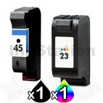 2 Pack HP 45 + 23 Compatible Inkjet Cartridges 51645AA + C1823D [1BK,1CL]