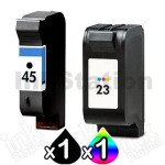 2 Pack HP 45 + 23 Compatible Inkjet Cartridges 51645AA + C1823D [1BK,1CL]