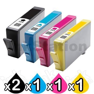 5 Pack HP 564XL Compatible Inkjet Cartridges CN684WA+CB323WA-CB325WA Value Pack [2BK,1C,1M,1Y]