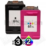 5 Pack HP 61XL Compatible High Yield Inkjet Cartridges CH563WA + CH564WA [3BK,2CL]