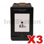3 x HP 63XL Compatible Black High Yield Inkjet Cartridge F6U64AA - 480 Pages