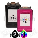 3 Pack HP 63XL Compatible High Yield Inkjet Cartridges F6U64AA + F6U63AA [2BK,1CL]
