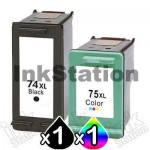 2 Pack HP 74XL + 75XL Compatible Inkjet Cartridges CB336WA + CB338WA [1BK,1CL]