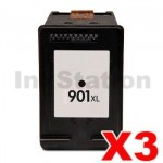 3 x HP 901XL Compatible Black Inkjet Cartridge CC654AA - 700 Pages