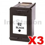 3 x HP 92 Compatible Black Inkjet Cartridge C9362WA