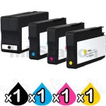 4 Pack HP 932XL + 933XL Compatible High Yield Inkjet Cartridges CN053AA - CN056AA [1BK,1C,1M,1Y]