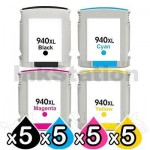 5 sets of 4 Pack HP 940XL Compatible Inkjet Cartridges C4906AA - C4909AA [5BK,5C,5M,5Y]