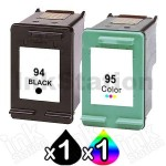 2 Pack HP 94 + 95 Compatible Inkjet Cartridges C8765WA + C8766WA [1BK,1CL]