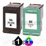 2 Pack HP 94 + 95 Compatible Inkjet Cartridges C8765WA + C8766WA [1BK,1CL]
