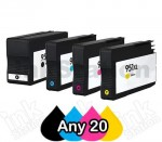 Any 20 x HP 950XL + 951XL Compatible Inkjet Cartridges CN045AA - CN048AA [BK,C,M,Y]