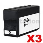 3 x HP 955XL Compatible Black High Yield Inkjet Cartridge L0S72AA - 2,000 Pages