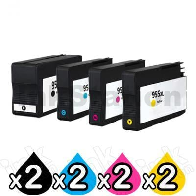 2 sets of 4 Pack HP 955XL Compatible High Yield Inkjet Combo L0S63AA - L0S72AA [2BK,2C,2M,2Y]
