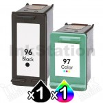 2 Pack HP 96 + 97 Compatible Inkjet Cartridges C8767WA  + C9363WA [1BK,1CL]