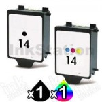 2 Pack HP 14 Compatible Inkjet Cartridges C5010DA+C5011DA [1BK,1CL]