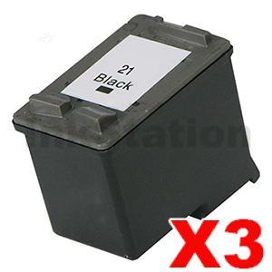 3 x HP 21XL Compatible Black High Yield Inkjet Cartridge C9351CA - 475 Pages
