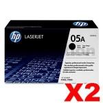 2 x HP CE505A (05A) Genuine Black Toner Cartridge - 2,300 Pages