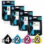 10 Pack HP 10 + 11 Genuine Inkjet Cartridges C4844AA+C4836AA-C4838AA [4BK,2C,2M,2Y]