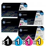 4 Pack HP Q6000A-Q6003A (124A) Genuine Toner Cartridges [1BK,1C,1M,1Y]