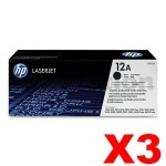 3 x HP Q2612A (12A) Genuine Black Toner Cartridge - 2,000 Pages