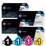 4 Pack HP Q2670A-2683A (308A/311A) Genuine Toner Cartridges [1BK,1C,1M,1Y]