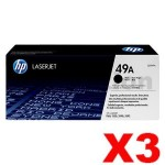 3 x HP Q5949A (49A) Genuine Black Toner Cartridge - 2,500 Pages